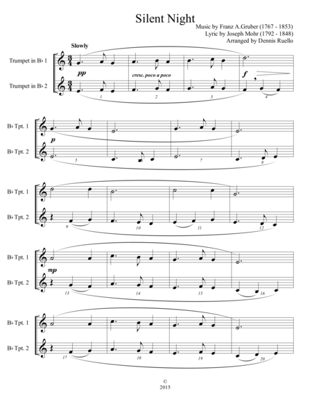 6 Traditional Christmas Carols for Trumpet Duet - Advanced Intermediate