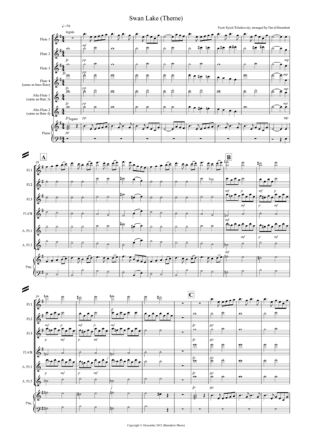 Swan Lake Theme for Flue Quartet