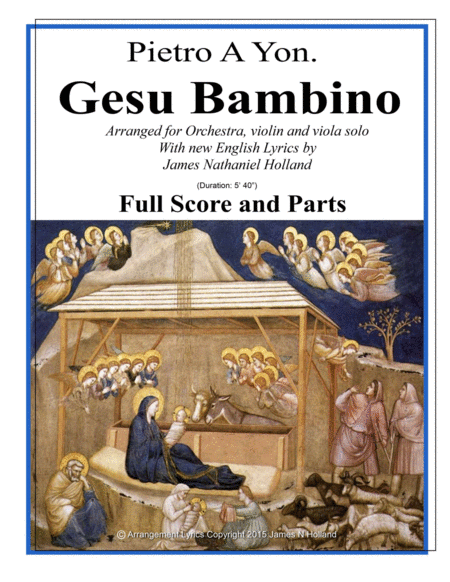 Gesu Bambino for Tenor/Soprano Voice and Orchestra, Score and Parts with new English Lyrics