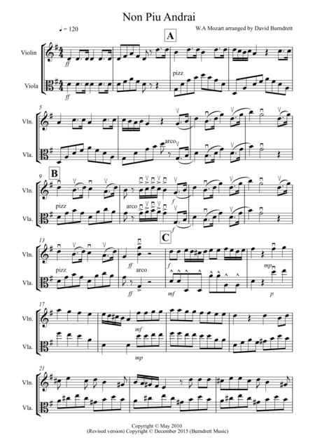 Non Più Andrai for Violin and Viola Duet