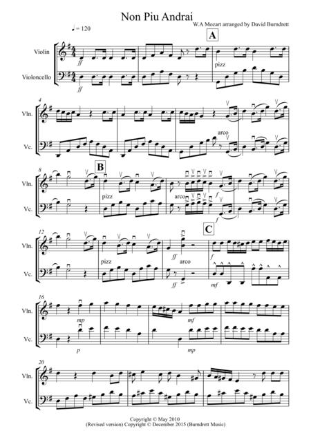 Non Più Andrai for Violin and Cello Duet