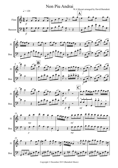 Non Più Andrai for Flute and Bassoon Duet