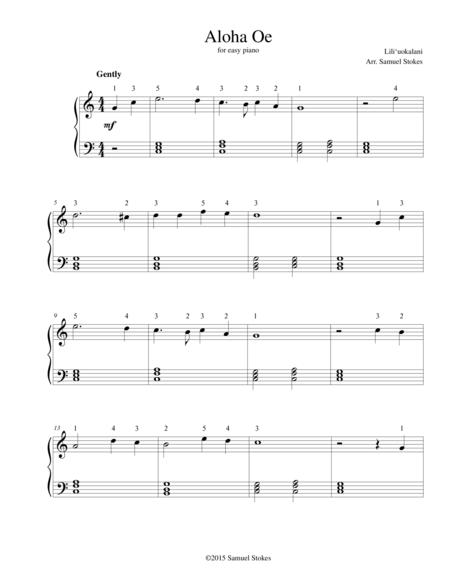 Aloha Oe - for easy piano