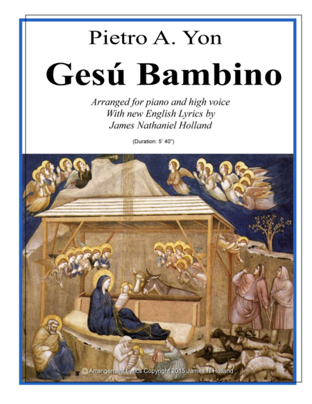 Gesu Bambino for High Voice and Piano with New English Lyrics