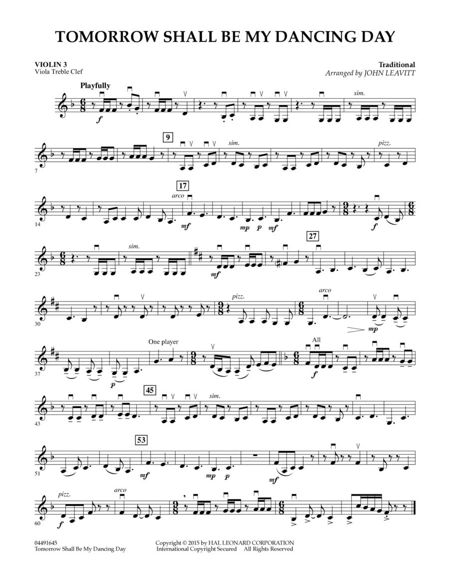 Tomorrow Shall Be My Dancing Day - Violin 3 (Viola Treble Clef)
