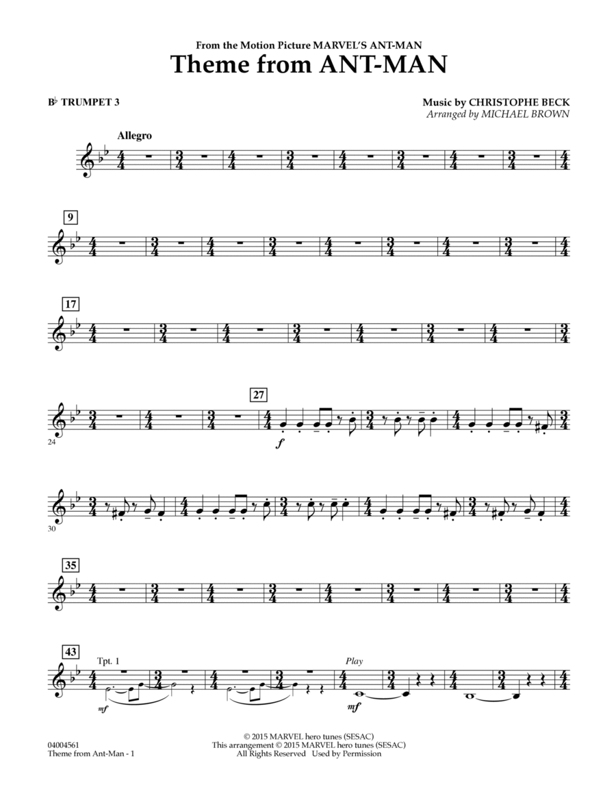 Theme from Ant-Man - Bb Trumpet 3
