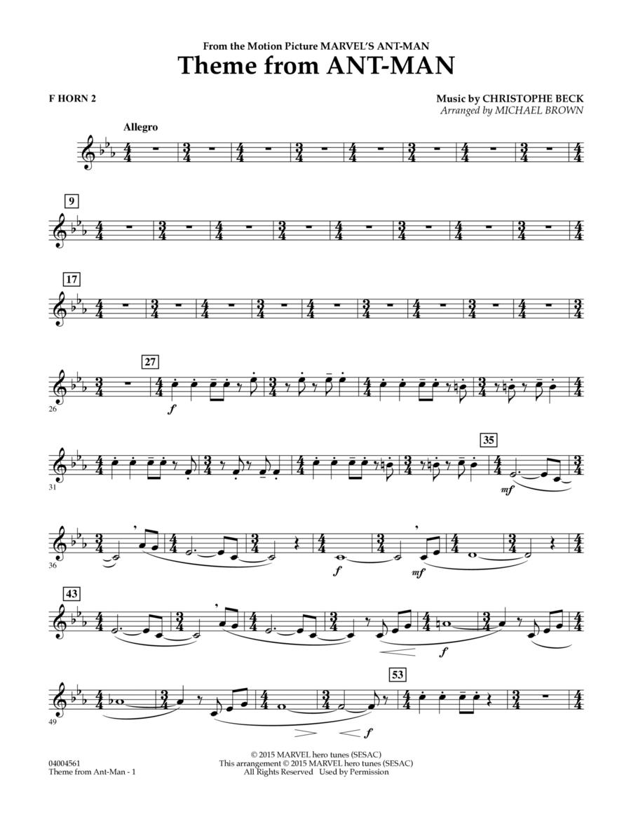 Theme from Ant-Man - F Horn 2