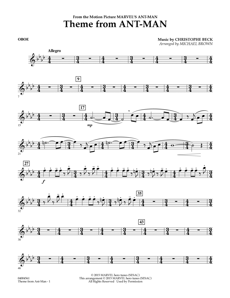 Theme from Ant-Man - Oboe