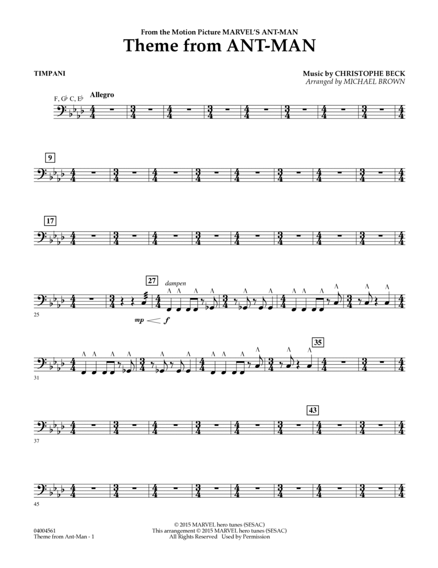Theme from Ant-Man - Timpani