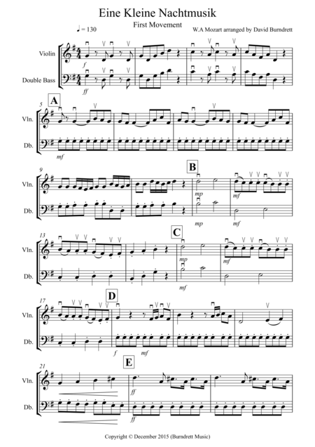 Eine Kleine Nachtmusik (1st movement) for Violin and Double Bass Duet