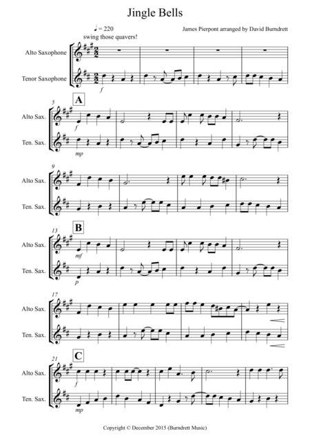 Jingle Bells (Jazzy Style!) for Alto and Tenor Saxophone Duet