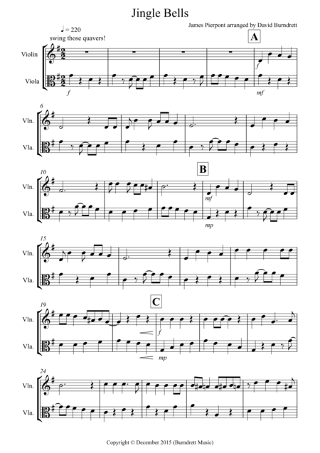 Jingle Bells (Jazzy Style!) for Violin and Viola Duet