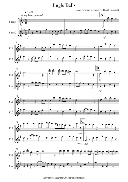 Jingle Bells (Jazzy Style!) for Flute Duet