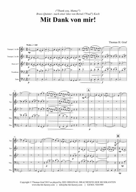Mit Dank von mir - German Ballad - Brass Quintet