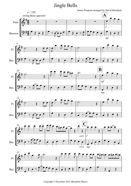 Jingle Bells (Jazzy Style!) for Flute and Bassoon Duet