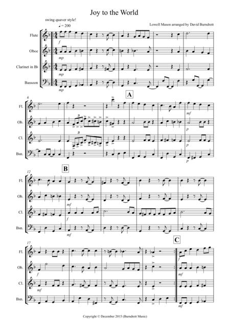 Joy to the World (Jazzy Style!) for Wind Quartet
