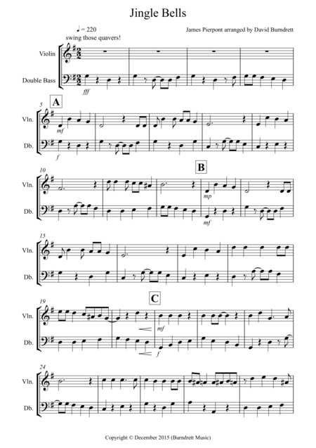 Jingle Bells (Jazzy Style!) for Violin and Double Bass Duet
