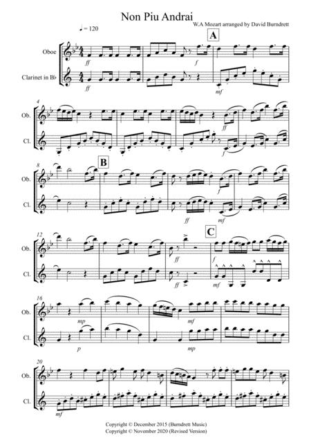 Non Più Andrai for Oboe and Clarinet Duet