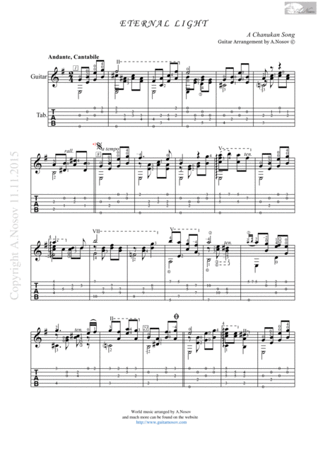 Eternal Light (Sheet music for guitar)