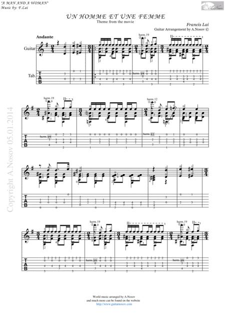 Un Homme et une Femme (Sheet music for guitar)