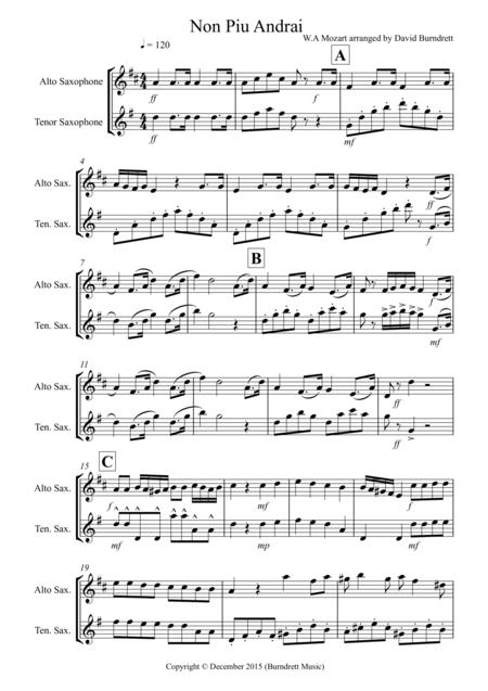 Non Più Andrai for Alto and Tenor Saxophone Duet