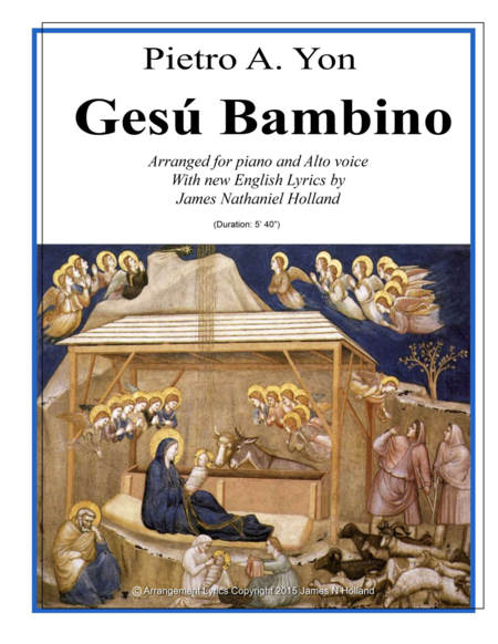 Gesu Bambino for Alto Voice and Piano with New English Lyrics