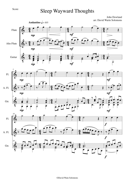 Sleep wayward thoughts for flute alto flute and guitar
