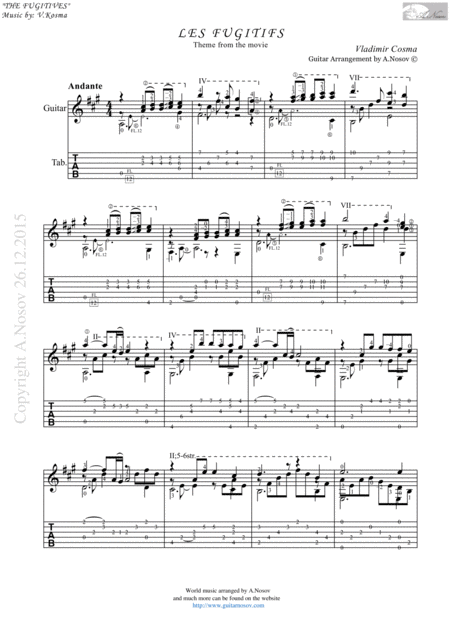 Les Fugitifs (Sheet music for guitar)