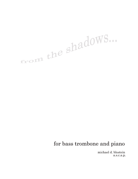 From the Shadows (Bass Trombone solo with piano accompaniment)