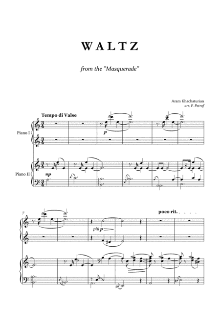 A. Khachaturian - WALTZ  from the ''Masquerade'' for piano 4 hands