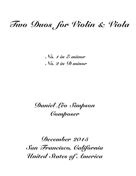 Two Violin and Viola Duos