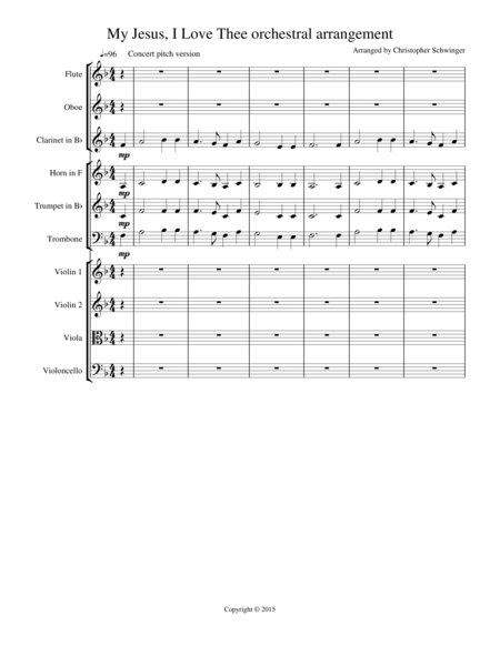 My Jesus, I Love Thee orchestral arrangement