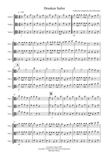 Drunken Sailor for Viola Trio