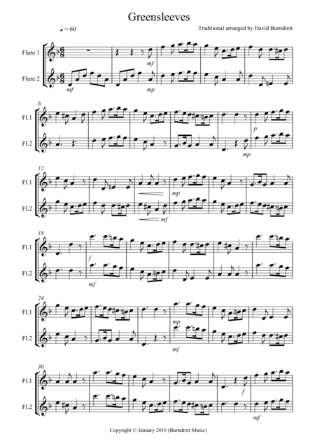 Greensleeves for Flute Duet