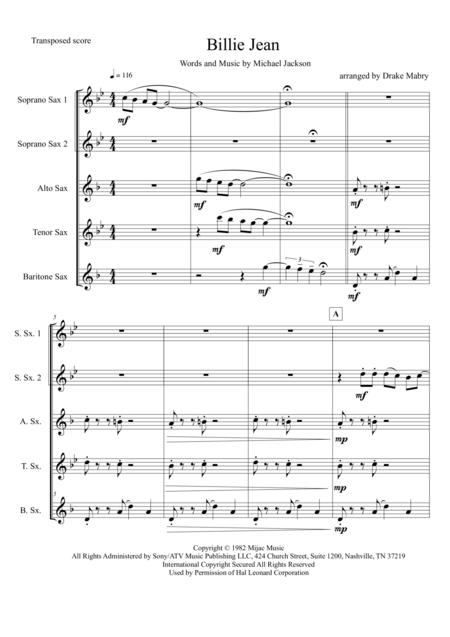 Billie Jean (saxophone quintet)
