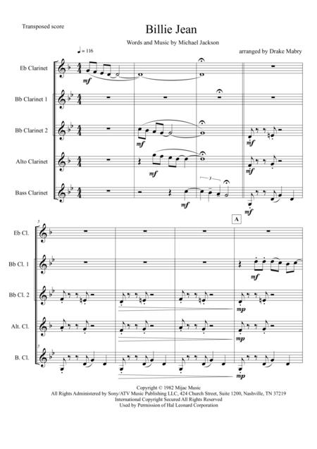 Billie Jean (Clarinet quintet)