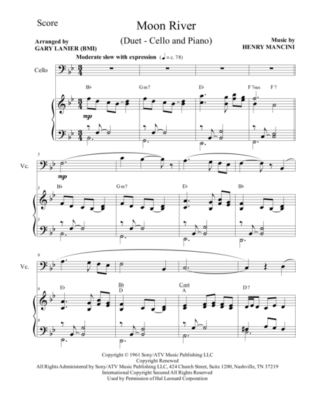 Moon River (Duet – Cello and Piano/Score and Parts)