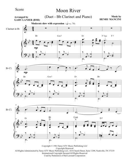 Moon River (Duet – Bb Clarinet and Piano/Score and Parts)