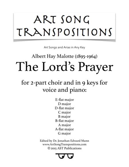 The Lord's Prayer (in 9 keys: E-flat, D, D-flat, C, B, B-flat, A, A-flat, G major)