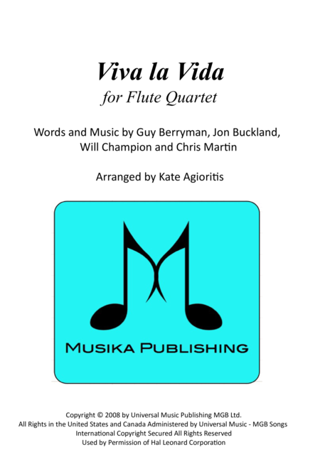 Viva La Vida - for Flute Quartet