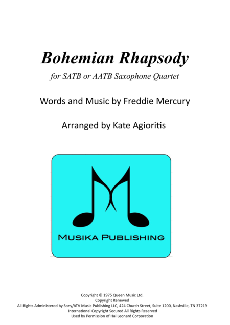 Bohemian Rhapsody - for SATB or AATB Saxophone Quartet