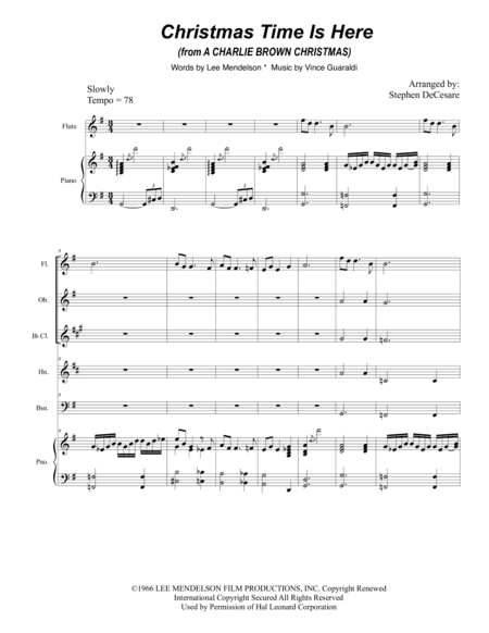 Christmas Time Is Here (for Woodwind Quintet)