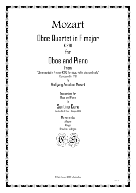 Mozart – Complete Oboe Quartet in F major K370 for Oboe and piano