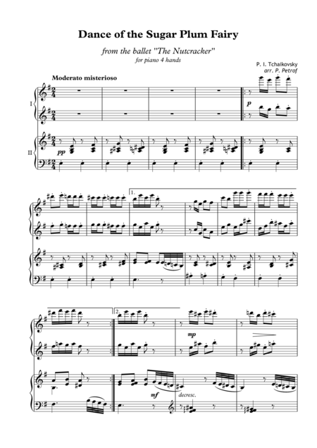 P. I. Tchaikovsky - Dance of the Sugar Plum Fairy from the ballet ''The Nutcracker'' - for piano 4 hands