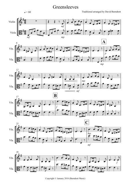 Greensleeves for Violin and Viola Duet