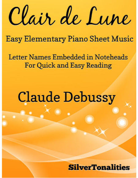Clair de Lune Easy Elementary Piano Sheet Music