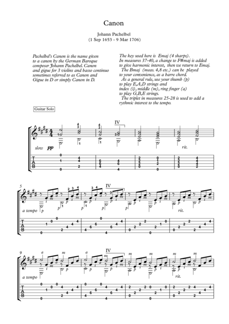 Canon Classical Guitar Solo