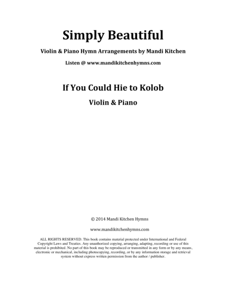 If You Could Hie to Kolob (Violin & Piano)