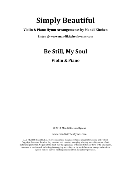 Be Still, My Soul (Violin & Piano)