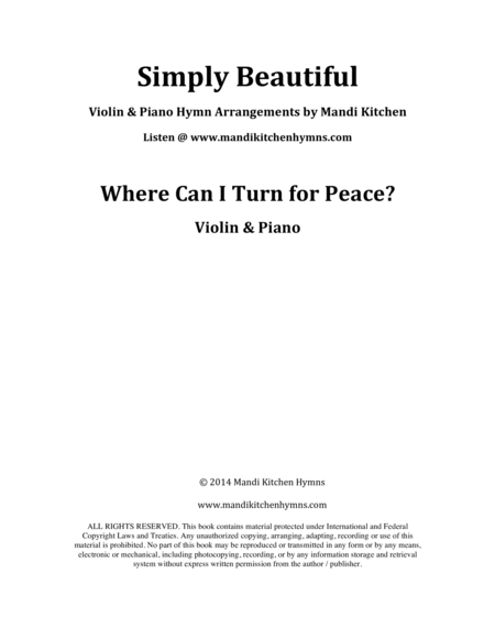 Where Can I turn for Peace? (Violin & Piano)